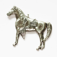 Sterling Western Horse with Saddle Brooch Pin Vintage