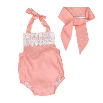 Toddler baby girl clothes Romper Jumpsuit Playsuit Infant Headband Clothes Outfits  for girl Set roupas de menina