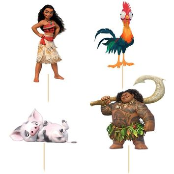 24pcs/set Moana Princess Maui cupcake topper picks Kids birthday party decoration Cake Baking Event Party Wedding Supplies
