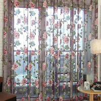Purple Floral Curtains Sheer Curtains for Living Room Curtains for Bedroom Home Decoration Window Curtain Screening