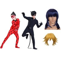 miraculous ladybug cat noir cosplay costume girls kids adult with wig boys children child kid party marinette lady bug costumes
