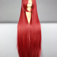 40 inches Harajuku Anime Wine Red Cosplay Wig Young Long Straight