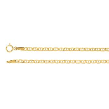 2.25mm 14k Yellow Gold Solid Anchor Chain Necklace
