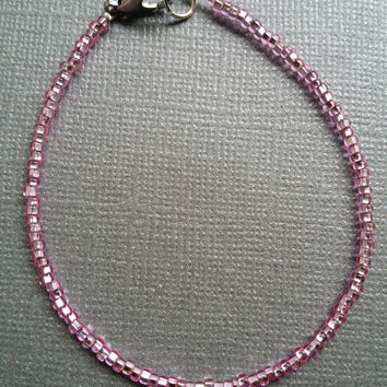 Sparkly Pink Seed Bead Bracelet