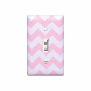 Chevron Nursery Decor / Light Switch Plate Cover / Baby Girl Pink and White / Slightly Smitten Kitten