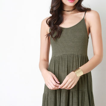 Striped Ribbed Knit Flare Dress