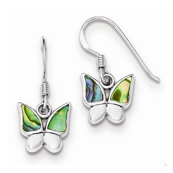 Sterling Silver Polished Abalone Butterfly Earrings