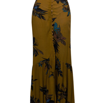 Yellow Button Front Floral Ruffle Hem Dipped Skirt