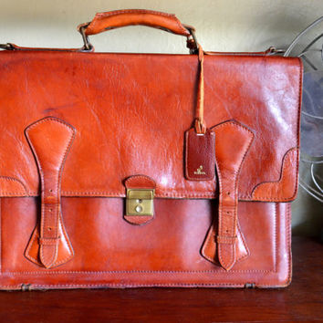 Vintage Renwick Briefcase, Cognac Brown Leather, Includes Key, Shoulder Strap, circa 1960s