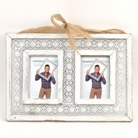 David Tutera Punched Metal Lace Wood 2-Opening 4'' x 6'' Collage Frame (White)