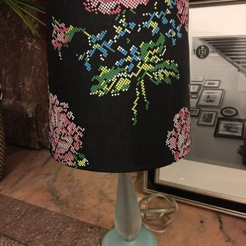 Lamp with fun, floral shade