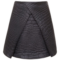 Quilted Satin Reptile Jacquard Skirt by Kenzo - Moda Operandi