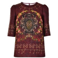 Brocade Key Print Top