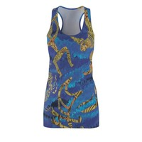 Hawaiian Tribal Big Wave Womens Cut  Sew Racerback Dress