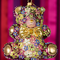 Mille Fiori Teddy Bear Christmas Ornament - Jay Strongwater
