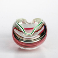Czech Borocrystal Bowl / Glass Ashtray / Red Green