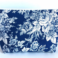 Large Cosmetic Bag, Large Makeup Bag, Bridal Makeup Bag, Brides Bag, Blue Floral Zipper Pouch, Blue Makeup Bag, Large Pencil Pouch
