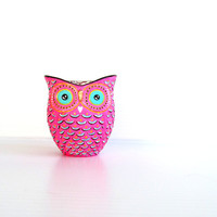 Pink hand painted Owl shaped votive candle holder