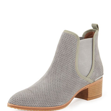 Diaz Perforated Suede Ankle Boot, Gray - Donald J Pliner