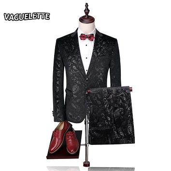 (Blazer+Pants) Groom Wedding Suit Mens Print Paisley Floral Stage Wear For Singer Fashion Slim Fit Mens Suits With Pants M-4XL