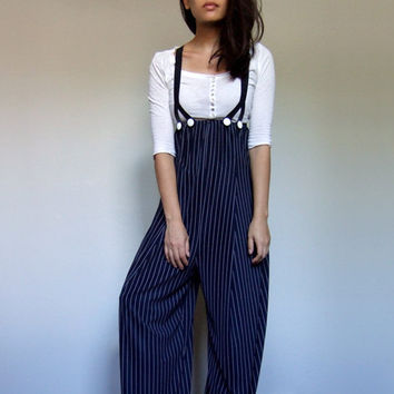 Navy Wide Leg Pants Women Blue White Pinstripe Suspenders 90s Clown Costume - Extra Small to Medium XS S M