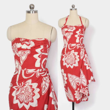 Vintage 50s HAWAIIAN DRESS / 1950s Red Tropical Print Rockabilly Convertible Strapless Halter Sarong Dress