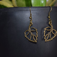 Bronze leaf Earrings, Bohemian Hippie Chic Dangle Earring, Fashion Jewelry, Gift for her, Sister Friendship Birthday Gift