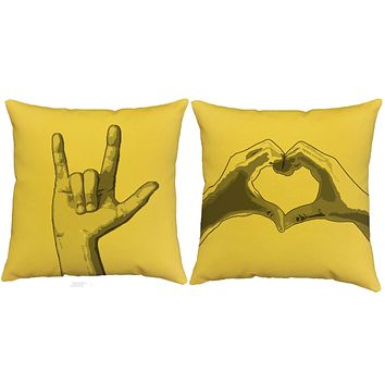 ASL I Love You Throw Pillows