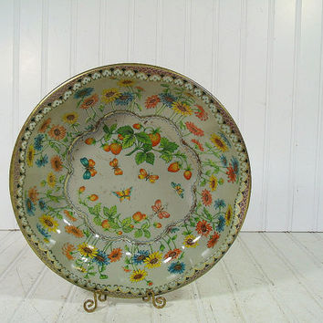 Retro Fluted Round Lithograph Florals & Butterflies Metal Bowl - Vintage Daher Decorated Ware Tray - Shabby Chic BoHo Bistro Serving Display