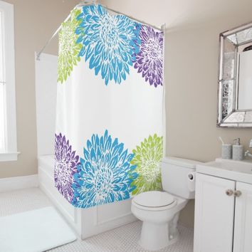 Blue, Purple and Lime Green Flower Shower Curtain