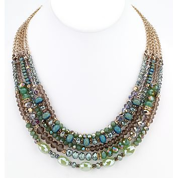 Beaded Glass Statement Necklace - Green