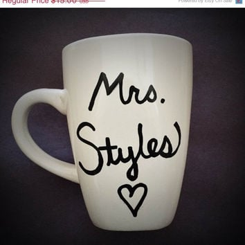 "ON SALE One Direction ""Mrs. ____"" // handwritten coffee mug // quote mug"