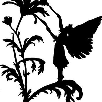 Garden man Fairy flower png silhouette Digital graphics Image Download fantasy art illustration printable