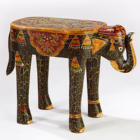 Painted Elephant Wood Accent Table | Living Room Furniture| Furniture | World Market