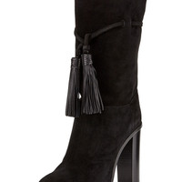 Black Suede Tassel Knot Over the Knee Boots