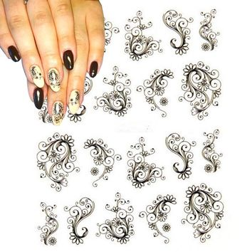 Flower Nail Stickers Water Transfer Decals Foils Polish