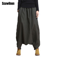 SCUWLINEN 2017 Linen Casual Pants Personality Loose Harem Pants Plus Size Elastic Waist Women's Pants Trousers for Women S10