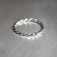 Silver Twist Ring, Braided Ring, Thin Silver Ring
