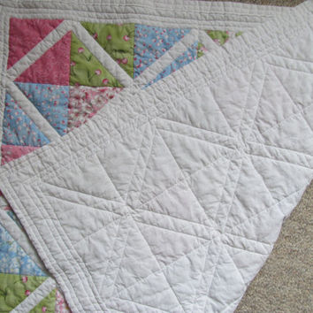 """Baby Quilt """"Cherry Blossoms in the Park"""" SAKURA PARK Fabric By Moda Preemie Car Seat Toddler Quilt"""