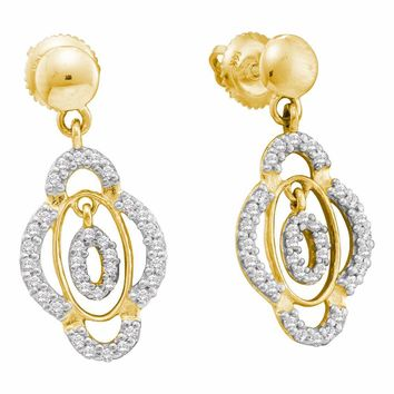 14kt Yellow Gold Womens Round Diamond Quatrefoil Dangle Screwback Earrings 3/8 Cttw