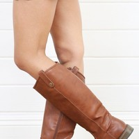 Breckelle's Rider18 Rust Button Flap Flat Riding Boots and Shop Boots at MakeMeChic.com