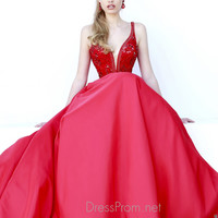 Deep V-neckline Beaded With Full A-line Sherri Hill Prom Dress 32108