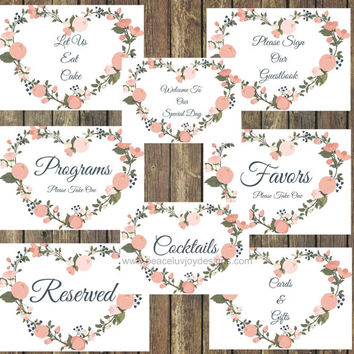 50% OFF SALE-Wedding Sign, Printable Bundle, 5x7, Instant Download, Pink Floral, Custom Sign , Welcome Sign, Shabby Chic, Cocktail Sign