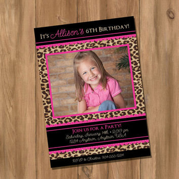 Pink Leopard / Cheetah Birthday Party Invitation with Photo (Digital - DIY)