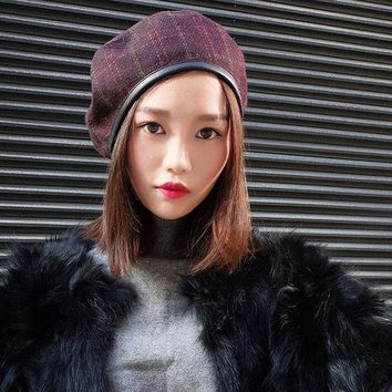Women Cotton Newsboy Lattice Beret Cap Casual Outdoors Octagonal Cap Winrer Warm Retro Lady Hat
