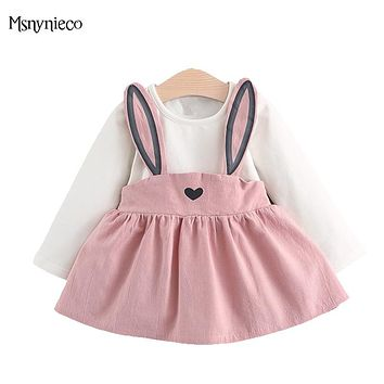 Baby Girls Dress Cartoon Infant Party Dress For Toddler Girl 0-2Years Brithday Clothes 2017 Autumn Casual Baby Girl Clothes