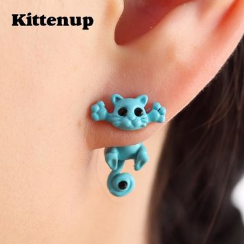Kittenup New Multiple Color Classic Fashion Kitten Animal brincos Jewelry Cute Cat Stud Earrings For Women Girls Dropshipping