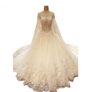 New Style Open Back Illusion Sexy Sequined Applique New Bride Wedding Dresses With Cape