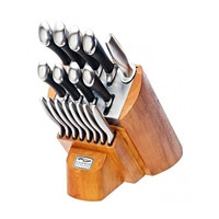 Chicago Cutlery Fusion 18-Piece Stainless Steel Maple Wood Kitchen Block Home