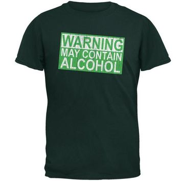 DCCKIS3 St Patrick's Day Warning May Contain Alcohol Mens T Shirt